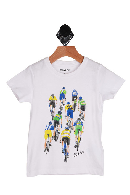 Big and little kids Bike Race short sleeve t-shirt.  White shirt with graphics of nine bikers all wearing blue, green and yellow jerseys.  100% Cotton.  Machine Wash Cold Inside Out, Tumble Dry Low.