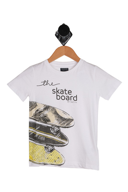 "Big kids skateboard tee in white with graphics of 3  grey and yellow skateboards going down the side.  Wording on front says ""the skateboard by NKTVK.   100% Cotton.  Machine Wash Cold Inside Out, Tumble Dry Low."