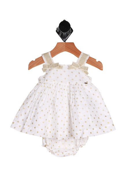 Plumetti Polka Dot Dress Set for infants.  This adorable white dress with gold polka dots features a hidden zipper closure at back with matching bloomers & fully lined dress.  Bows on front straps.  100% Cotton. Machine Wash Cold Inside Out, Tumble Dry Low.