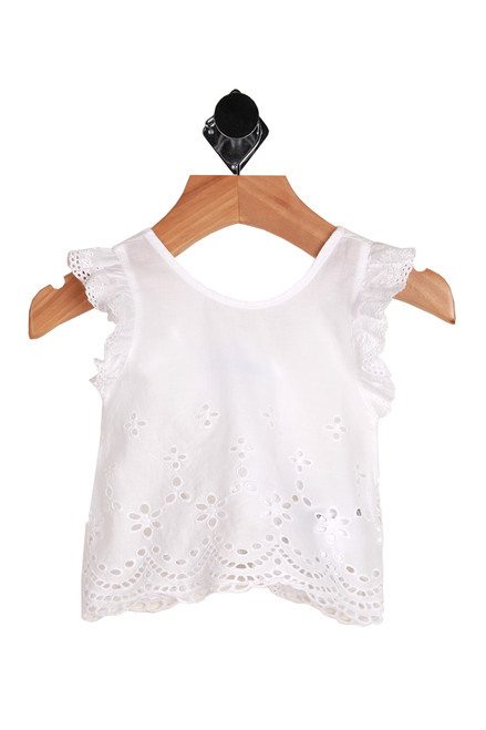 Embroidered Eyelet Blouse for infants.  Sleeveless white blouse. 100% Cotton. Machine Wash Cold Inside Out, Tumble Dry Low.