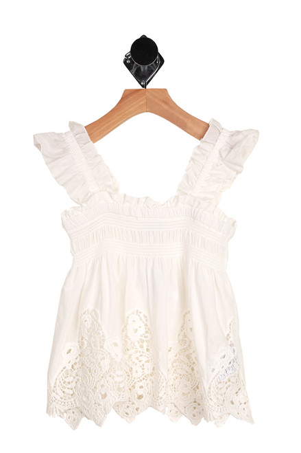 Embroidered Smocked Ruffle Top for big kids.  This white  ruffle top by Mayoral features a smocked top with elastic ruffly sleeves, embroidered eyelet detailing at bottom and looser fit.  100% Cotton. Machine Wash Cold Inside Out, Tumble Dry Low.