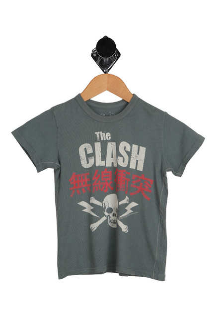 The Clash Short Sleeved Crew Tee for little kids.  This grey tee by Trunk LTD. features The Clash logo with skull printed at front, the softest tee material and short sleeves. 100% Cotton. Machine Wash Cold Inside Out, Tumble Dry Low