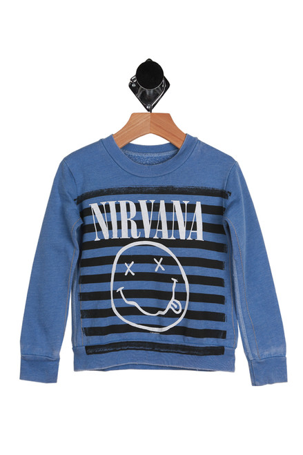 This super cute Trunk LTD. sweater features the softest fleece-like material on the inside with the Nirvana logo printed at front & long sleeves.  Blue with black and blue stripes on the front. 50% Polyester, 50% Cotton. Machine Wash Cold Inside Out, Tumble Dry Low.