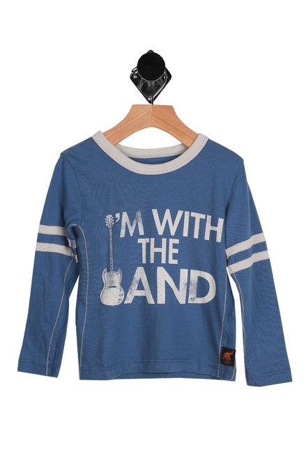 With The Band Ringer Long Sleeve Tee for Toddlers and Little Kids.  Blue shirt with white collar, white printing and two white stripes on both arms. 100% Cotton. Machine Wash Cold, Tumble Dry Low.