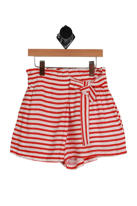 Striped High Waisted Shorts for big kids.  Red and white stripes with bow at waistline.  100% Viscose. Machine Wash Cold Inside Out, Tumble Dry Low.