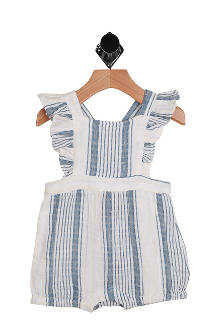 Penelope Ruffle Romper for Infants.  This adorable romper by Mimi & Maggie features an overall style with ruffle sleeves, the softest material, snap closure at bottom and elastic band at waist in blue and white stripes.  100% Cotton.  Hand Wash Cold Inside Out, Hang Dry.