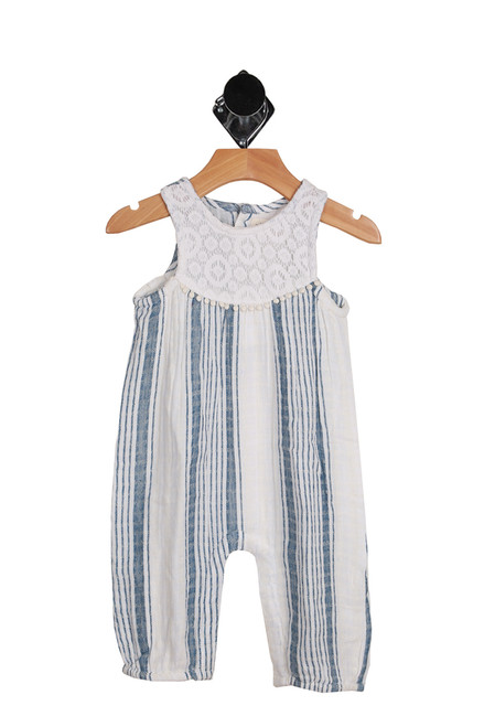 Striped Romper for Infants.  This romper features a 4-button closure at back with snap closing at bottom and a super soft material your baby girl will love!  Has a white cotton lace top with blue and white stripes bottom. 100% Cotton. Hand Wash Cold, Hang Dry.