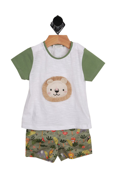 Lion & Jungle Set for Infants.  White tee shirt with green sleeves and lion graphic on the front.  Shorts are jungle print. Top is 99% Cotton, 1% Elastane, Bottoms are 97% Cotton, 3% Elastane. Machine Wash Cold Inside Out, Tumble Dry Low.