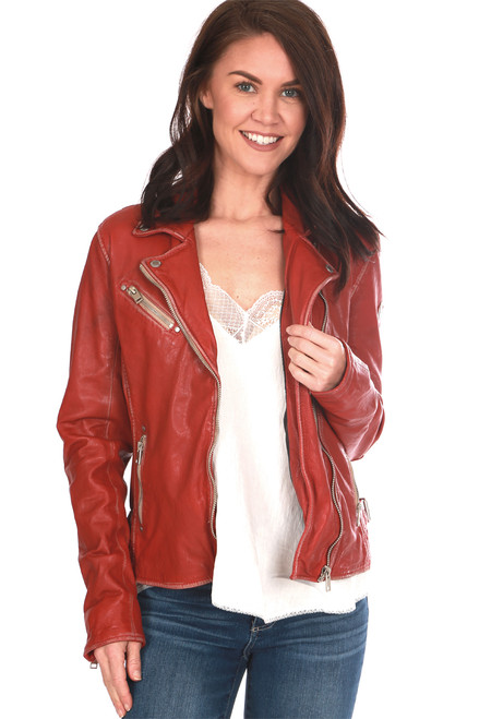 Beautifully made, this red 100% lamb leather jacket by Mauritius features the classic moto jacket look with silver hardware, zipper closure, buckle detailing on each side and the softest leather material. Completely lined with zipper pocket on inside.  True To Size.  Shoulder To Hem Measurement is Approximately 21.5 inches.  Shell - 100% Lamb Leather, Body Lining - 100% Cotton, Sleeve Lining - 100% Polyester.  Dry Clean Only.