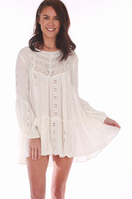 Wear this white Free People top as a tunic or dress!! It features beautiful lace & embroidery detailing with long sleeves, cut-out back and super mini length. True To Size.  Shoulder To Hem Measurement is Approximately 28 inches.  Shell is 100% Viscose, Lace is 100% Cotton, Embroidery is 100% Cotton.  Machine Wash Gentle, Tumble Dry Low