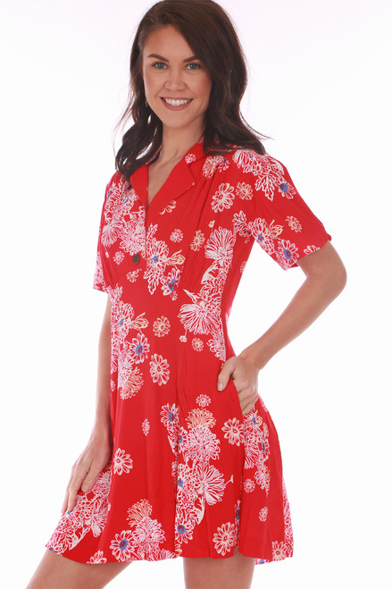 Perfect for Spring, this Free People mini dress in red with a white floral print features a button closure at front with all over tropical floral print, collar, mini length and short sleeves!  True To Size.  Shoulder To Hem Measurement is Approximately 32.5 inches.  100% Viscose.  Machine Wash Cold, Tumble Dry Low