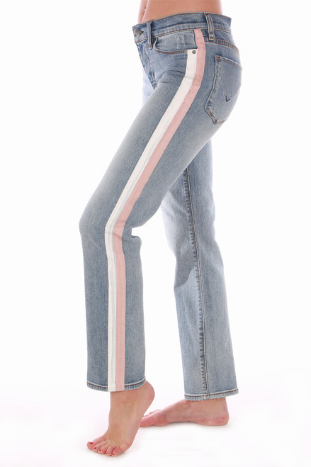 These super cute Hudson Jeans feature a mid-rise with cigarette straight leg, pink & white painted stripe at each side and the comfiest denim material.  True To Size.  Rise is Approximately 9 inches.  Inseam is Approximately 27 inches.