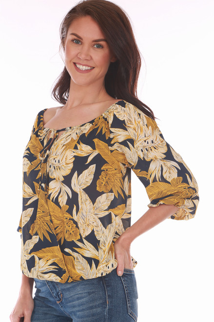 This Veronica M blouse features a beautiful mustard, cream & navy floral print with elastic band at top neckline, front tie and elastic band at bottom hem.  True To Size.  Shoulder To Hem Measurement is Approximately 22 inches.   100% Polyester.  Machine Wash Cold, Tumble Dry Low.