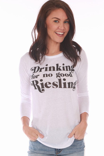 "This awesome white Chaser tee features ""Drinking for no good Riesling"" at front with rounded bottom hemline and the softest material.  True To Size.  Shoulder To Hem Measurement is Approximately 25 inches.  60% Cotton, 40% Polyester.  Machine Wash Cold, Tumble Dry Low."