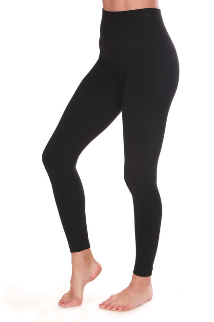 Look at Me Now black Leggings.  Rise is Approximately 8.5 inches.  Inseam is Approximately 22 inches. (stretch to length).  94% Nylon, 6% Elastane.  Machine Wash Cold, Tumble Dry Low.