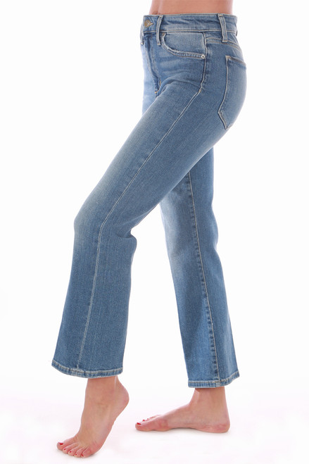The Callie fit Jeans are a high rise cropped boot jean from Joes Jeans. These feature the softest denim material with a solid denim material and light stitching.  Fits True To Size.  Rise is Approximately 9.75 inches.  Inseam is Approximately 25.5 inches.  Fabric Content  is 78% Cotton, 18% Modall, 3% Polyester, 1% Elastane.  Dry Clean Recommended, Machine Wash Cold, Hang Dry.