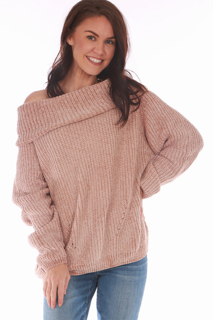 Off the Shoulder Chenille Sweater in Charcoal or Sand.  One Size fits all Shoulder To Hem Measurement is Approximately 24 inches.  100% Polyester Machine Wash Cold, Tumble Dry Low.