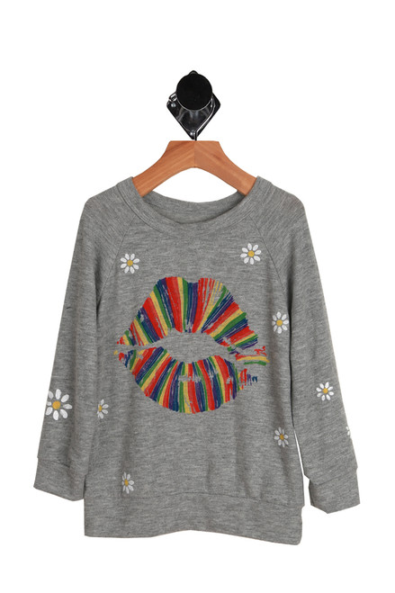 Rainbow Lips Daisy Pullover Sweater for Big Kids. Gray sweatshirt with rainbow lips graphic and daisy flowers.  50% Polyester, 50% Cotton.  Dry Clean Recommended. Hand Wash Cold, Lay Flat To Dry