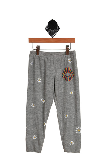 Rainbow Lips Daisy Lounge Pants for Big Kid.  Gray lounge pants decorated with daisy flowers and a rainbow lip graphic at the top of one leg.  50% Polyester, 50% Cotton.  Dry Clean Recommended. Hand Wash Cold, Lay Flat To Dry