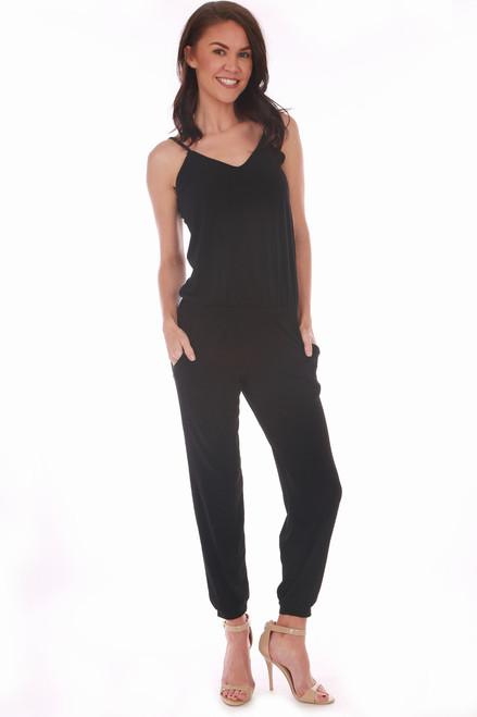 e8edd2ca9a36 Black sleeveless jumpsuit features v-neck and spaghetti straps