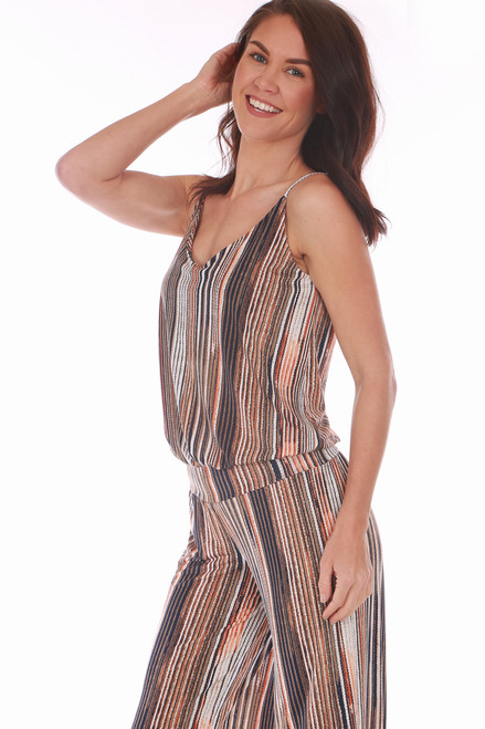 6842d309526c ... This tank jumpsuit by Veronica M. is beige, black, brown, and rust ...