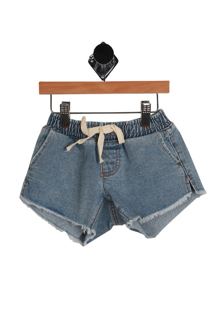 Wild Sun Denim Shorts for Little and Big Kids has elastic waistband with a white string tie and side slit pockets. 100% Cotton.  Machine Wash Cold, Tumble Dry Low.