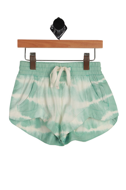 Mad For You Tie Dye Shorts for Little and Big Kids in beach and white  tie dye.  Elastic waist with white tie at waist.  60% Cotton, 40% Viscose. Hand Wash Cold, Hang To Dry.