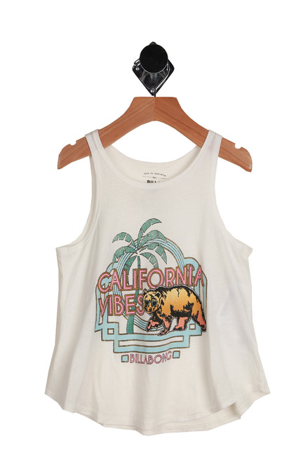 California Vibes Swing Tank for Little and Big Kids has a front graphic and says  California Vibes. 55% Cotton, 45% Modal.  Machine Wash Cold, Tumble Dry Low.