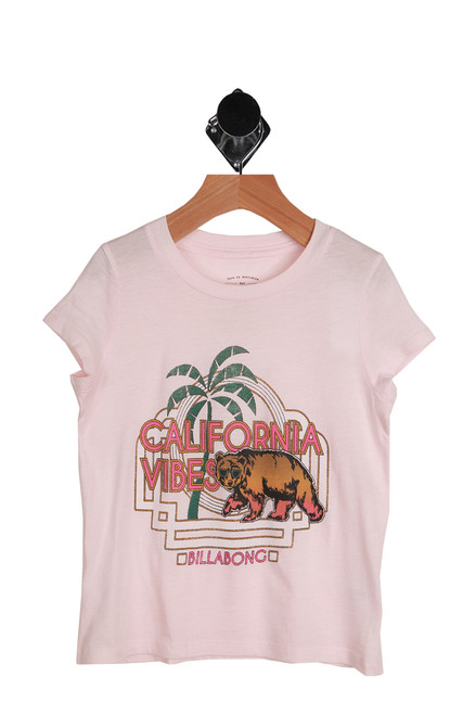 Cali Cool Girl Tee for Little and Big Kids in pink with a front graphic saying California Vibes.  55% Cotton, 45% Modal.  Machine Wash Cold, Tumble Dry Low.