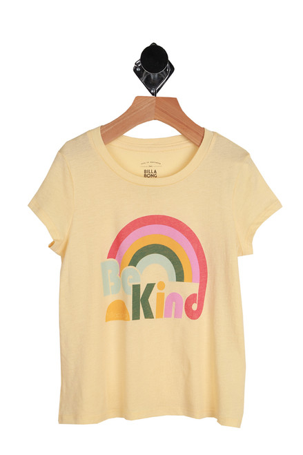 Be Kind Rainbow Tee for Little and Big Kids.  Rainbow graphic on front of yellow fade tee saying Be Kind with a rainbow.  55% Cotton, 45% Modal. Machine Wash Cold, Tumble Dry Low.