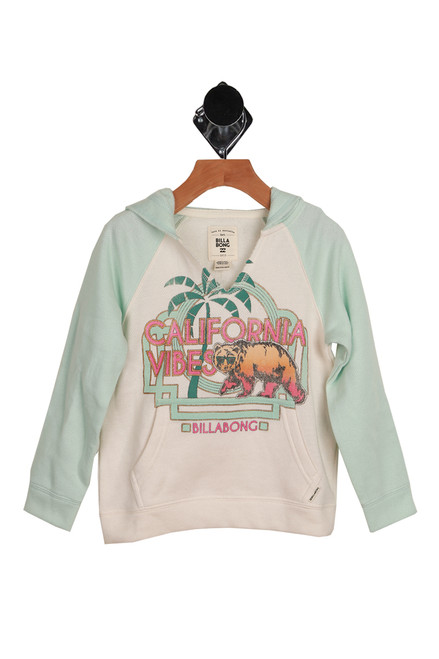 Cali Vibes V-Neck Hoodie Pullover for Little and Big Kids is white with light green sleeves.  Front features a graphic with the words California Vibes. 60% Cotton, 40% Polyester. Machine Wash Cold, Tumble Dry Low