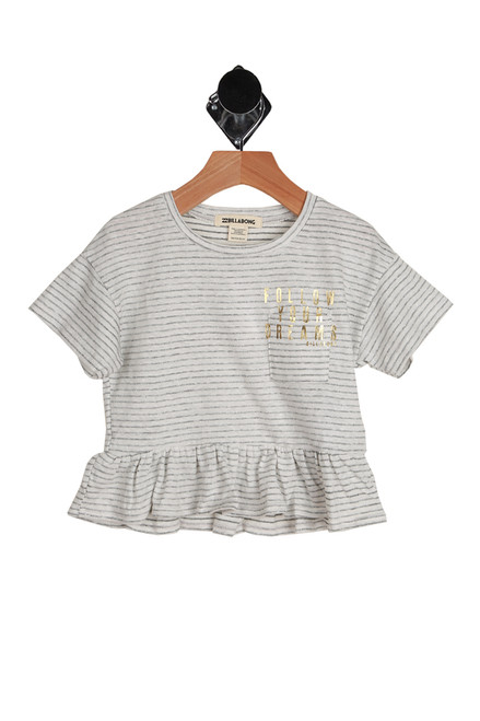 "Sand And Sea Peplum Tee for Big Kids in white and black horizontal stripes.  Front pocket detail at front with ""Follow Your Dreams"" printed in gold lettering on pocket.  55% Cotton, 45% Polyester.  Machine Wash Cold, Tumble Dry Low."