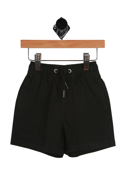 Larry Layback Twill Short for Toddler and Little Kids with elastic and tie waist in black or washed slate.  Also features side slit pockets. 98% Cotton, 2% Elastane.  Machine Wash Cold, Tumble Dry Low.