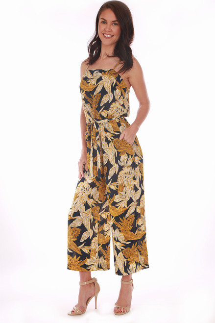 0d8a27598e Blue, gold and beige sleeveless Floral Culotte Cami Jumpsuit has spaghetti  straps and a tie