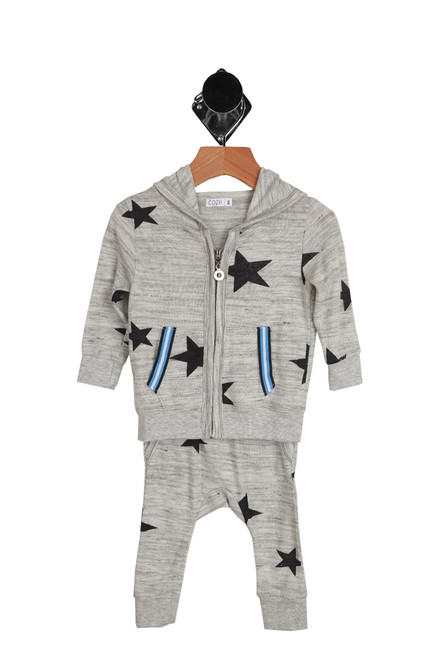 Star Hacci pant set with hoodie for infants in grey with navy stars.  Front view shows zip front hoodie and pants.  63% Rayon, 33% Polyester, 4% Spandex.  Machine Wash Cold, Tumble Dry Low.
