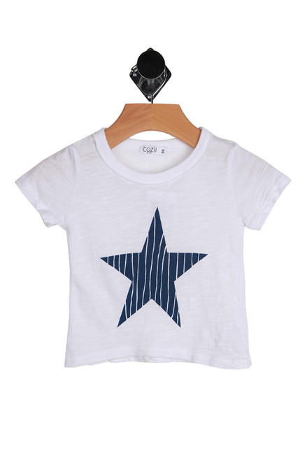 Short Sleeve Star Tee for Infants in white with a blue star.  100% Combed Cotton.  Machine Wash Cold, Tumble Dry Low.