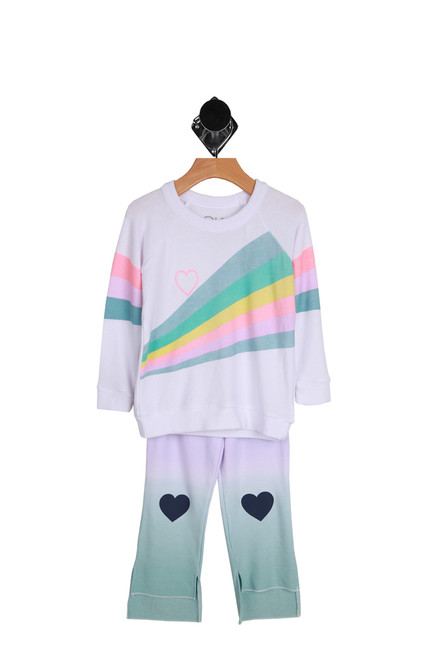 Rainbow Hearts Knit Hi-Lo Pants & Pullover Set for Little and Big Kids.  White top with a rainbow of pale colors across the front of the pullover.  Bottoms have heart patches on the knees. 49% Polyester, 46% Rayon, 5% Spandex.  Hand Wash Cold, Lay Flat To Dry.