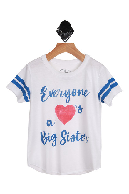Big Sister Jersey Tee for Big Kids in white with blue stripes on sleeves. Graphic on front says Everyone ,red heart shown, a BIg Sister.  60% Cotton, 40% Polyester.  Machine Wash Cold, Tumble Dry Low.