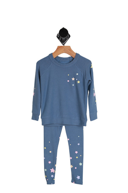 Starry Knit Sweater & Legging Set for Toddlers and Little Kids in blue.  This two piece set has stars on the front, sleeves and legs.  49% Polyester, 46% Rayon, 5% Spandex.  Hand Wash Cold, Lay Flat To Dry.