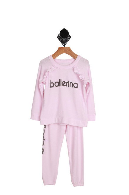 Ballerina Knit Pullover & Pant Set for Little and Big Kids in pink with Ballerina lettering in black on the front and down the side of one leg.  The top also has raglan ruffles at the shoulders. 49% Polyester, 46% Rayon, 5% Spandex.  Hand Wash Cold, Lay Flat To Dry.