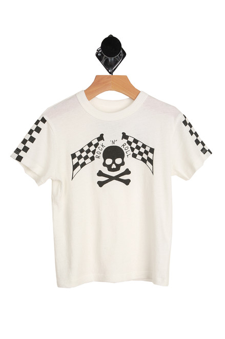 Rock N' Roll Short Sleeve Tee for Little and Big Kids in white with black skull and cross bones graphic on the front with the words Rock and Roll.  100% Cotton.  Machine Wash Cold, Tumble Dry Low