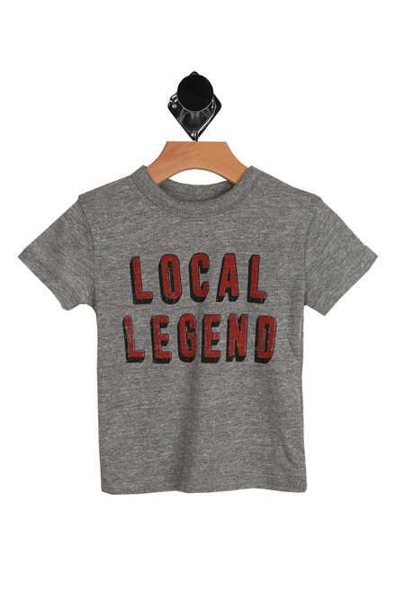 Local Legend Tee for Toddlers. Little and Big Kids in grey with red letters saying Local Legend on front.  50% Polyester, 38% Cotton, 12% Rayon.   Machine Wash Cold, Tumble Dry Low.