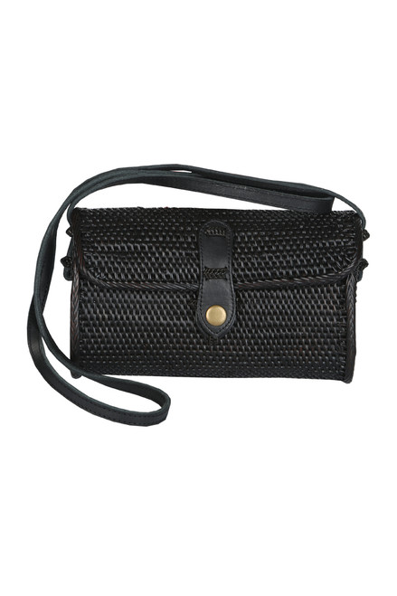 Long Black Rattan Crossbody Purse