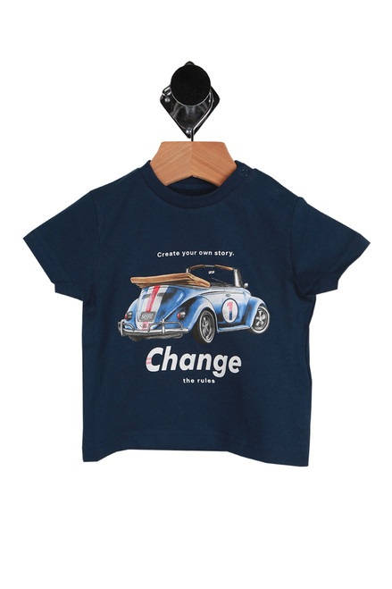 "Short Sleeve Car Tee for Infants in dark blue. Graphic of a convertible VW bug with the wording ""Create your own story - Change the rules"".  Features double snap closure at top left shoulder.  100% Cotton.  Machine Wash Cold, Tumble Dry Low."