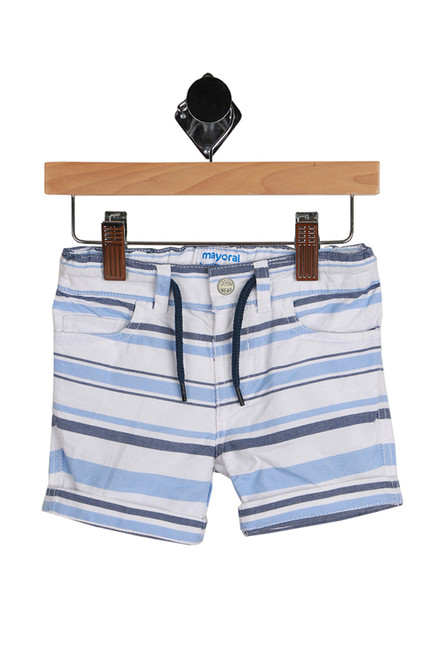 Striped Bermuda Shorts for Infants with dark blue, light blue and white stripes. These feature elastic waistband with drawstring, snap closure at front and size adjusters on inside. 100% Cotton.  Machine Wash Cold, Tumble Dry Low.