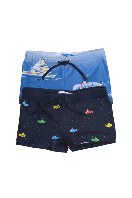 Swimsuit Bottoms Set for Infants.  Comes with 2 different bathing suit bottoms. One is light blue with boats on it.  The other dark blue with submarines. Features elastic waistband.  85% Polyester, 15% Elastane.  Machine Wash Cold, Tumble Dry Low.