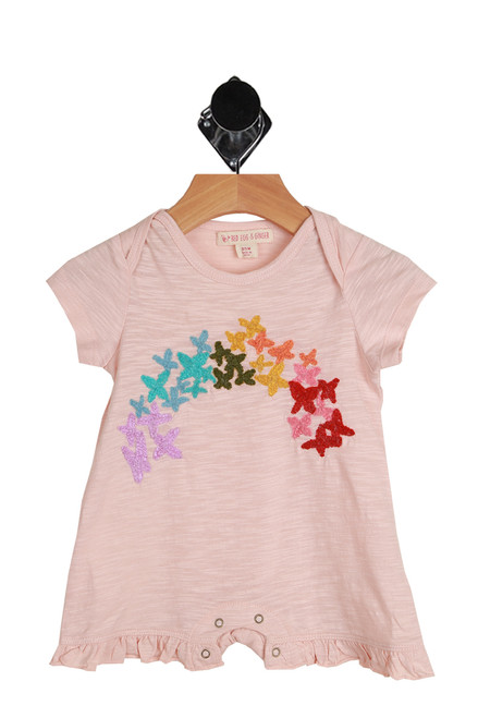 Rainbow Butterfly Onesie for Infants in light pink.  Features a rainbow of butterflies across the front with a snap closure at bottom. 60% Cotton, 40% Modal. Machine Wash Cold, Tumble Dry Low.