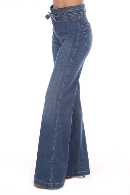 Blue denim high rise belted jeans with wide legs.  Fit true to size. Rise is approximately 10.5 inches and Inseam is  Approximately 28 inches.  Fabric Content is 92% Cotton, 6% Elastomultiester, 2% Elastane. Dry Clean Recommended, Machine Wash Cold, Hang Dry.