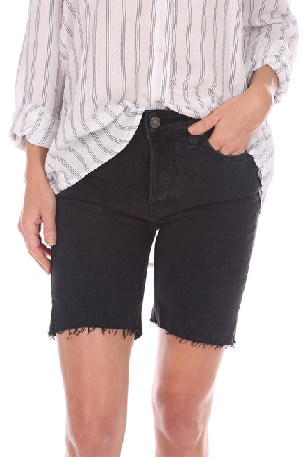 Avery button fly high rise Bermuda shorts in black.  Fit True To Size. Rise is Approximately 9.5 in and Inseam is Approximately 7 inches. 99% Cotton, 1% Spandex.   Machine Wash Cold, Tumble Dry Low.