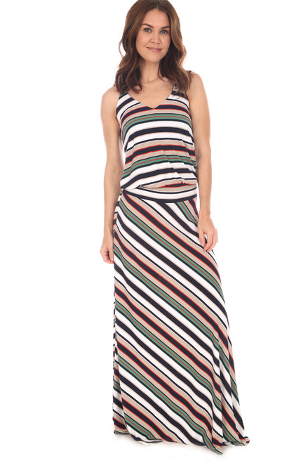 22117c7443 Sleeveless dropped waist maxi dress in green, navy, white and tan stripes  has adjustable
